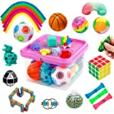 Fidget Toys Set, Fidget Sensory Toys Bundle for Kids Autism, ADHD, Adults Anxiety Stress Relief Kit with Stress Balls, Squish
