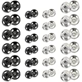 Kenkio 120 Sets Sew-on Snap Buttons Metal Snaps Fasteners Press Studs Buttons for Sewing 8 mm and 10 mmblack and Silver