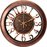 Adalene Wall Clocks Battery Operated Non Ticking - Completely Silent Quartz Movement - Vintage Rustic Clocks for Living Room
