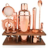 Bartender Kit Copper 11 Piece - Copper Parisian Cocktail Mixology Set - Rose Gold Shaker with Muddler, Pourers, Strainer & Tw