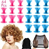 64 Pieces Silicone Hair Curlers Set, 30 Pieces Large Silicone Hair Rollers and 30 Pieces Small Silicone Hair Rollers with Net