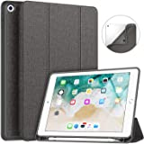 New iPad 9.7 2018/2017 Case with Pencil Holder, Soke Smart iPad Case Trifold Stand with Shockproof Soft TPU Back Cover and Au