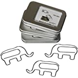 Paper Clips Office Supplies Planner Clips Elephant Shape - Small Paperclips Bookmark for Office School (3 Tins Pack) - Fun Of