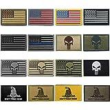 WZT Bundle 16 Pieces American Flag Tactical Military Morale Patch Set