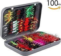 毛ばり セット ルアーセット100個入り フライ釣り用 完成フライ 擬餌針 毛鉤 毛針セット ケース付き 渓流 トラウト テンカラ釣りに