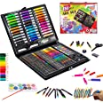 KINSPORY 150PCS Portable Inspiration & Creativity Coloring Art Set Deluxe Painting & Drawing Supplies - Black