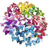 72 x PCS 3D Colourful Butterfly Wall Stickers DIY Art Decor Crafts for Nursery Classroom Offices Kids Girl Boy Baby Bedroom B