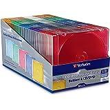 Verbatim Slim CD and DVD Storage Cases - 50 Pack - 5 Assorted Colors 94178