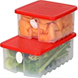 Fresh Fruit and Vegetable Food Keeper Saver Storage Container with Air Vented Lids Produce Keeper Dishwasher, Freezer, Refrig