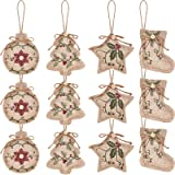 Jetec 12 Pieces Christmas Burlap Tree Ornaments Hanging Decorations Stocking Tree Ball Star Shapes for Christmas Party Decor,