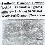 Diamond Powder 50,000 Grit, 0-0.5microns - 25 Cts. = 5 Grams