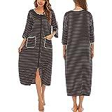 Veseacky Women's Robe Zipper-Front 3/4 Sleeve Sleepwear Full Length Stripe Loungewear Wiht Pockets S-XXL