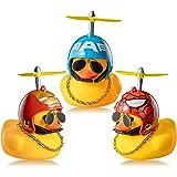 Haooryx 3 Pack Rubber Duck Toys Car Ornaments Helmet Yellow Duck Car Dashboard Decorations Set, Superhero Series Rubber Ducks