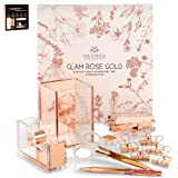 Stylish Office Desk Accessories and Supplies Kit For Women , Rose Gold - 10-Piece Desktop Accessory Set for Office, Home - Wo