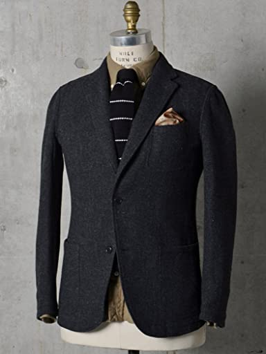 Airy Wool Tweed 2-button Jacket 117-04-0197: Dark Grey