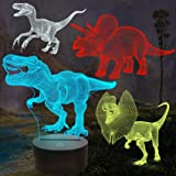 FULLOSUN Dinosaur Bedside Lamp, 3D Hologram Illusion Night Light for Kids (4 Patterns) with Remote Control 16 Colors Changing
