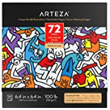 ARTEZA Coloring Book for Adults, Doodle Designs, 72 Sheets, 100 Lb, 6.4X6.4 Inches, for Anxiety, Stress Relief & Relaxing, De