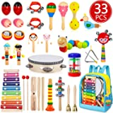 Toddler Musical Instruments, 33 PCS 19 Types Wooden Percussion Instruments Toys for Baby Kids Preschool Education, Early Lear
