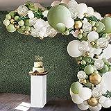 127 Pcs Olive Green Balloons Garland Arch Kit, Ivory White Olive Green Metallic Chrome Gold Latex Confetti Retro Balloon Set