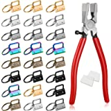 73 Pieces 1 Inch Key Fob Hardware and Pliers Tool Set, Lanyard Leather Keychain Hardware with Key Ring Wristlet Clamp Hardwar