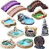 12 Pieces Fairy Garden Accessories Miniature Garden Bridge Figurines Mini Lighthouse Water Well Bridge Figurines Miniature Po