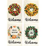 Billion Sky Welcome Garden Flag, 4 Pack Burlap Spring/Summer/Fall/Winter Seasonal Yard Flags for Outdoor, 12x18 Inch, Double