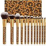Docolor Makeup Brushes Leopard 12 Pieces Professional Makeup Brush Set Christmas Gift Premium Synthetic Brushes Set Kabuki Fo