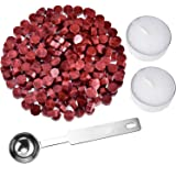 Hestya 230 Pieces Octagon Sealing Wax Beads Sticks with 2 Pieces Tea Candles and 1 Piece Wax Melting Spoon for Wax Stamp Seal