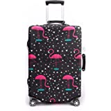 Periea Premium 3mm Elasticated Suitcase Luggage Cover - 38 Different Designs - Small, Medium or Large (Black & Pink with Flam