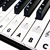 Piano Keyboard Stickers for Beginners 88/76/61/54/49/37 Keys - Removable, Transparent, Double Layer Coating Piano Stickers -