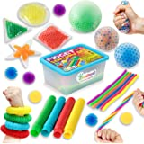 ZaxiDeel Sensory Toys for Autistic Children and Adults, 23 Pack Fidget Toys - Pop Tubes, Bean Bags, Giant Stress Ball, Squeez