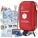 First Aid Kit - 163 Piece Waterproof Portable Essential Injuries & Red Cross Medical Emergency Equipment Kits : for Car Kitch