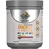 Garden of Life SPORT Organic Plant-Based Energy + Focus Vegan Pre Workout Powder, Sugar Free Blackberry Cherry - Clean Prewor