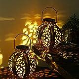 DUSVALLY 2 Pack Hanging Solar Lanterns Retro Hollow Metal Waterproof Solar Lights with Handle, Outdoor Solar Garden Lights De