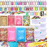 67PCS Cheap Slime Supplies Include Sugar Paper Ingredients Floam Beads Fish Bowl Beads Shell Glitter Jars Slime Containers wi