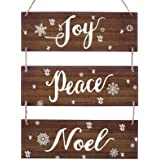 Christmas Rustic Hanging Signs Decoration Winter Large Vintage Vertical Wooden Decor Signs with Rope Joy Peace Noel Wall Deco