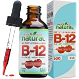 Organic Vitamin B12 Liquid - Extra Strength 60 x 5000mcg Drops (Methylcobalamin), w/Natural Cherry Flavor   Designed to Maxim