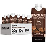 Evolve Plant-Based Protein Shake, Double Chocolate, 20g Protein, 11 Fl Oz, 12 Pack (Formula May Vary)