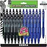 ZEBRA PENS, bulk pack of 24 ink pens, Z-Grip Retractable ballpoint pens Medium point 1.0 mm, 12 black pens & 12 Blue pens com