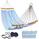 Double Hammock with Tree Straps Kit, Ohuhu Folding Curved-Bar Bamboo Hammock with Carrying Bag, Portable 2-Person Hammocks fo