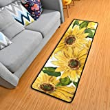 Blooming Sunflowers Kitchen Rugs Non-Slip Soft Doormats Bath Carpet Floor Runner Area Rugs for Home Dining Living Room Bedroo