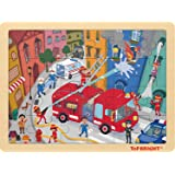 TOP BRIGHT 24ピースパズル 対象年齢3~5歳 - 消防救助木製ジグソーパズル 収納トレイ付き