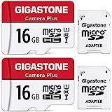 Gigastone Micro SD Card 16GB マイクロSDカード フルHD 2個セット SDアダプタ付 ミニ収納ケース付 w/adapter and case SDHC U1 C10 85MB/S 高速 micro sd カード UHS-