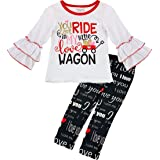 Amor Bee Girls Valentine's Day Themed I Love You Outfit Set - 2 Piece Top Legging Set