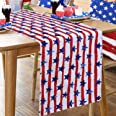 MoKoHouse Patriotic Table Runner 13 x 84 Inch 4th of July Table Runner American Flags Independence Day Outdoor Party Table De