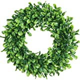 """(15"""" Boxwood Wreath) - Lvydec Artificial Green Leaves Wreath - 38cm Boxwood Wreath Outdoor Green Wreath for Front Door Wall W"""