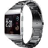 Kartice for Fitbit Ionicバンド スマートウォッチ交換ベルト フィットビット 腕時計ベルト 高品質ステンレス製バンド 調整工具が付き(黒)