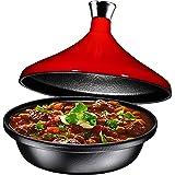 Cast Iron Tagine Pot w/knob, Enameled Fire Red Cast Iron Lid, 4 Quart, By Bruntmor