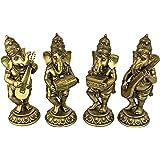 Design Toscano Set of 4 Musical Ganesha Statue, 1 Piece