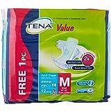 TENA Value Diaper free 1 Piece Case, M, 12 Count (Pack of 8)